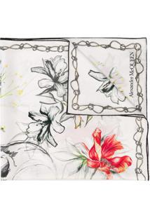 Alexander Mcqueen Lenço De Seda Com Estampa Floral - Branco