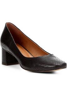 Scarpin Couro Shoestock Salto Baixo Cobra - Feminino-Marrom