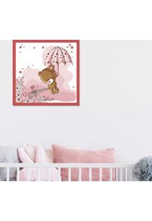 Quadro Pump Up Emoldurado Bebê Ursa Vermelho