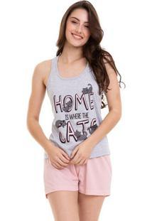 Pijama Short Doll Gatinhos Regata Nadador Feminino Luna Cuore