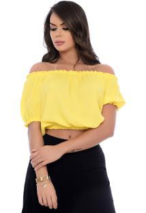 Blusa Cropped B'Bonnie De Viscose Lara Amarelo