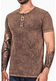Camiseta Henley Chocolate Stone Marmorizada 101901