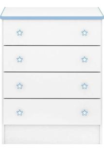 Cômoda Infantil Doce Sonho 103 Branco Azul - Qmovi