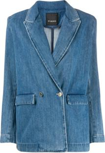 Pinko Blazer Jeans Com Abotoamento Duplo - Azul