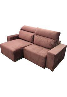 Sofa Bonno Com 3 Lugares Assento Veludo Rosa Base Madeira - 45278 Sun House