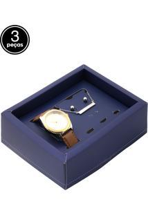 862a3c006 Dafiti. Relógio Bege Dourado Feminino Allora Kit 3 Peças ...