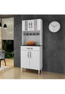 Armário De Cozinha 4 Portas 2 Com Vidro 1 Gaveta Milão Arte Móveis Branco
