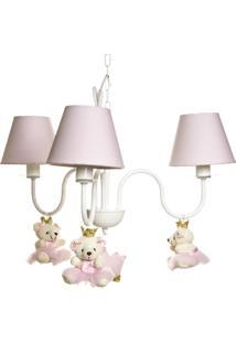 Lustre 3L Simples Com 3 Ursinhas Princesas Quarto Bebê Infantil Menina Potinho De Mel Rosa - Kanui