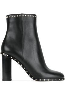 Valentino Ankle Boot Rockstud De Couro - Preto