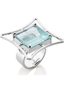 Anel Cafalli Rodinado Prata Água Marinha Azul