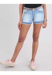 Short Jeans Feminino Reto Com Cinto Azul Claro