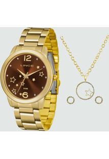Kit Relógio Feminino Strass Lince Lrgh093L Kv74N1Kx