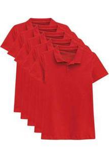 Kit De 10 Camisas Polo Femininas Vermelho