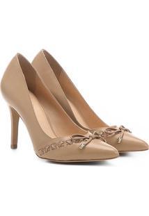 Scarpin Couro Shoestock Salto Alto Trançado - Feminino-Bege