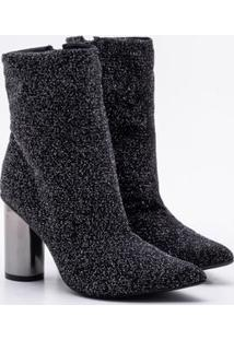 Ankle Boot Bebecê Lurex Preta 36
