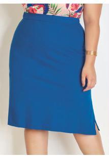Saia Azul Com Fendas Laterais Plus Size