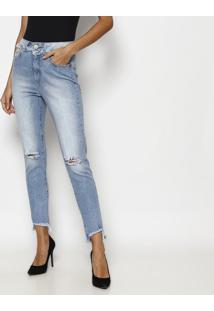 Jeans Skinny Com Desfiado - Azul Claro- Tuaregtuareg