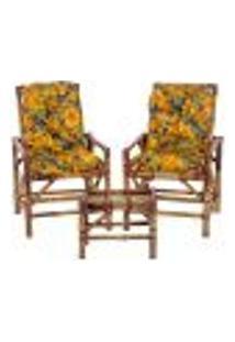 Conjunto Mesa E 2 Cadeiras De Bambu Cancun Para Área Edicula Jardim G27