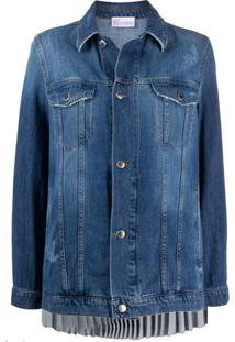 Red Valentino Pleated Back Denim Jacket - Azul
