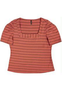 Blusa Decote Quadrado Listrada Laranja