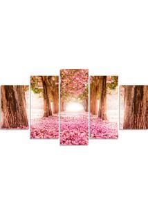 Quadro Decorativo Para Sala Casa Arvore Cerejeira Rosa - Multicolorido - Dafiti