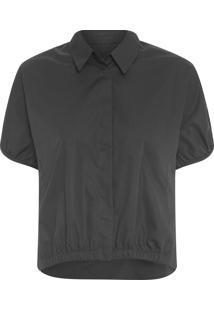 Camisa Feminina Com Elástico - Preto