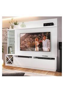"""Rack Com Painel Tv 50"""" 1 Porta Vidro Branco Lilies Móveis"""