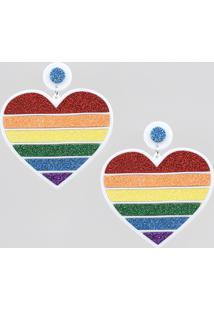 Brinco Feminino Pride Coração Arco-Íris Com Glitter Branco - Único