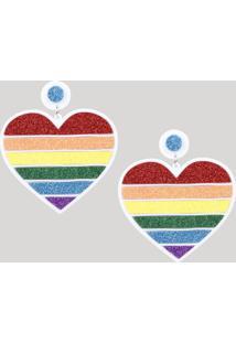 Brinco Feminino Pride Coração Arco-Íris Com Glitter Branco