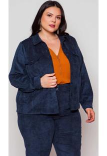 Jaqueta Almaria Plus Size Pianeta Veludo Azul Marinho