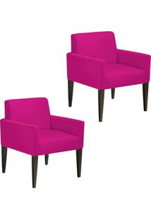 Kit 02 Poltronas Decorativa Dani Para Sala E Recepção Suede Pink - D'Rossi