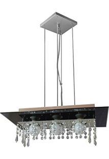 Lustre Pendente De Vidro Com Cristal Para 03 Lâmpadas - Pode Ser Utilizado Lâmpadas De Led - Preto