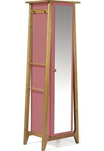 Armário Multiuso 1 Porta Stoka Maxima Nogal/Rosa New