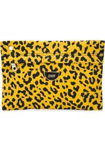 Dvf Diane Von Furstenberg Clutch Animal Print Com Logo - Amarelo