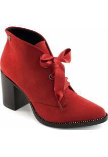 Ankle Boot Salto Bloco Quiz - Feminino-Vermelho