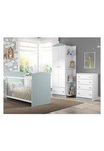 Quarto Infantil Completo Joáo E Maria Multimóveis Branco/Azul Com Berço + Guarda Roupas + Cômoda Branco