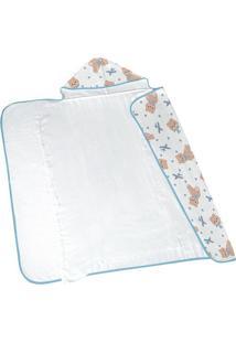 Toalha De Banho Com Capuz Aviãµes- Azul & Branca- 75Xlepper
