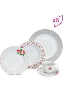 Aparelho De Jantar Beauty Fleur- Branco & Vermelho- Ricaelle
