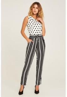 Calça Pijama Classic Stripes Feminina - Feminino-Preto+Branco