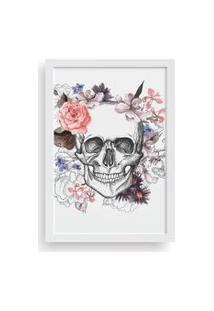 Quadro Love Decor Decorativo Com Moldura Caveira Floral