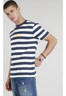 "Camiseta Masculina ""Unlimited"" Listrada Manga Curta Gola Careca Azul Marinho"