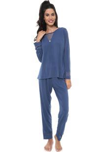 Pijama Pzama Renda Azul