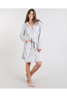 Roupão Feminino Em Fleece Estampado De Coala Com Capuz Manga Longa Cinza