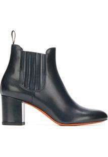 Santoni Ankle Boot De Couro - Azul