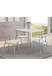 Mesa 1510 Branca Cromada Com 4 Cadeiras 1700 Branca Carraro