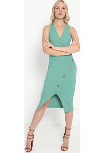 Vestido Canelado Com Botões- Verde- Colccicolcci