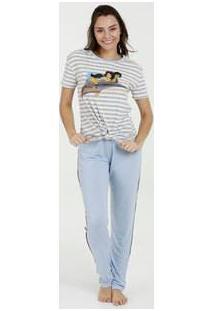 Pijama Feminino Estampa Alladin Manga Curta Disney