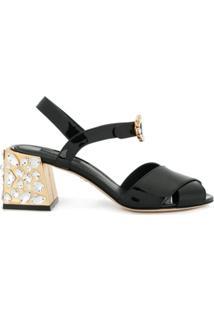 Dolce & Gabbana Sandália De Couro Com Aplicação - Preto
