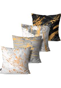 Kit Com 4 Capas Para Almofadas Pump Up Decorativas Estilo Pintura Abstrata 45X45Cm - Branco - Dafiti