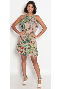 Vestido Floral Com Elástico E Babado- Bege Verde- Vip Reserva